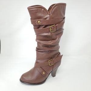Brown Slouch Heeled Boots with Buckle Detail